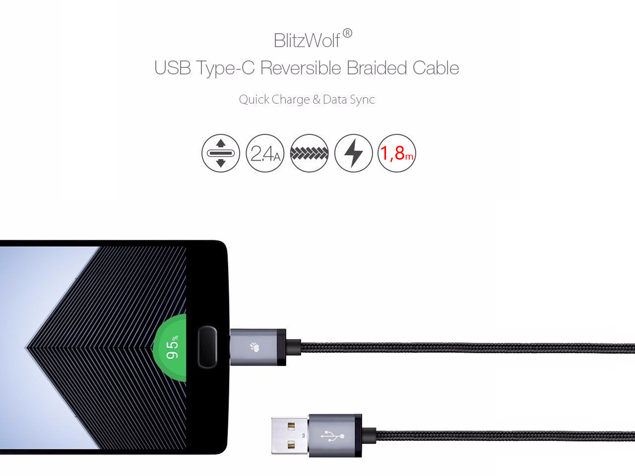 BLITZWOLF BW-MC1 KABEL MICRO USB QUICK CHARGE 3.0