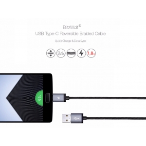 BLITZWOLF KABEL USB TYP C QUICK CHARGE 1,8 M